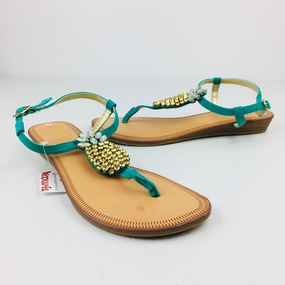 f1a764a59c63 Green T Strap Pineapple Bling Wedge Sandals. NWT